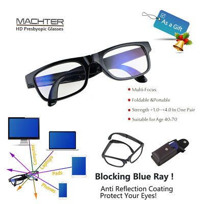 Unisex Multi Focus HD  Foldable Reading Glasses Portable  3 Powers in 1 Reader