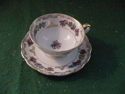 Royal Bayreuth Cup and Saucer, Floral Design, trimmed in Gold, Germany