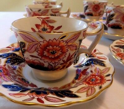12 pc Antique Coffee Cups Demitasse Set  Saucers Booths Imari DOVEDALE England