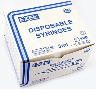 (100) exel luer Lock Syringe 3ml(3cc) 21g x 1 1/2in (1.5in) box of 100