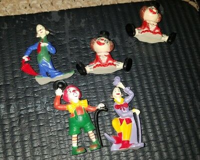 LOT of 5 VINTAGE CIRCUS CLOWN PLASTIC FIGURES CAKE TOPPERS IT PENNY SCARY CREEPY
