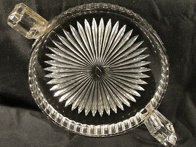 Antique Heisey Glass Two Handled Plate Hallmarked Patent 6/20/16