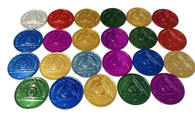 AA Alcoholics Anonymous Medallions 23 In Set:24 Hrs-10 YRS+18 Month Anniv. Coins
