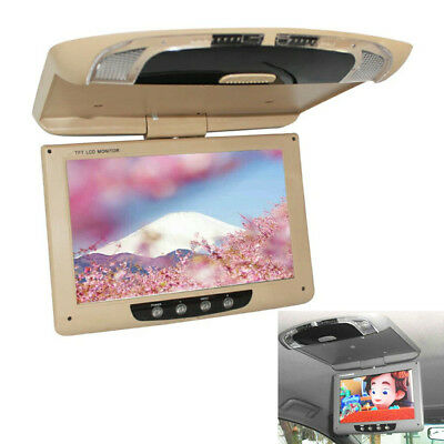 """9"""" TFT Car Ceiling Roof Mount LCD Color Monitor Flip Down Screen Remote Control"""