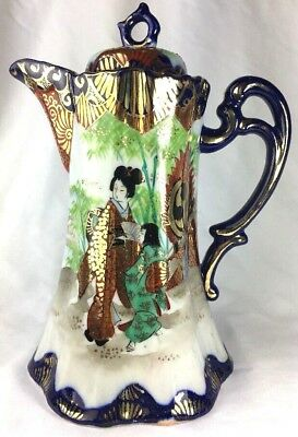 Antique Japanese Kutani Porcelain Blue Gold Gilt Geisha Landscape Coffee pot