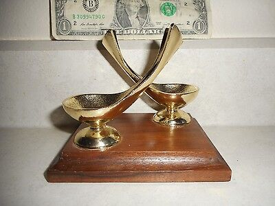Vintage Metal & Wood Pax Brand USA Double Smoking Pipe Rest