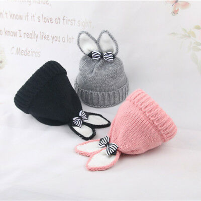 FT- Winter Baby Beanie Hat Warm Cute Rabbit Ear Bowknot Toddler Knitted Cap Supe