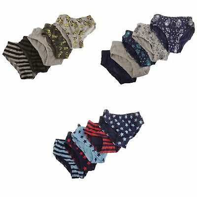 Childrens Boys Patterned Elasticated Briefs (Pack Of 5)