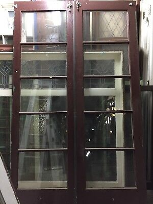 "Old French Doors 77-1/2""x24"" Ea Door 48"" Total Open 1920's Thin Antique Doors"