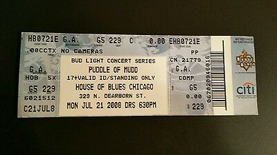 Puddle of Mudd  Ticket 7/21/2008  House of Blues Chicago  MAKE AN OFFER!
