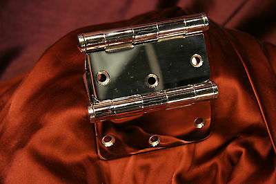 """New Vintage Pair Of Chrome Plated Butts Stanley Hinges 3.5"""" X  3.5"""""""