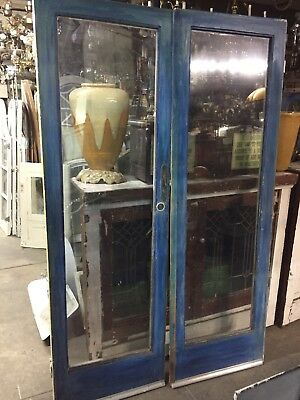 "Single Glass French Doors 77""x24""ea 48""open Old"