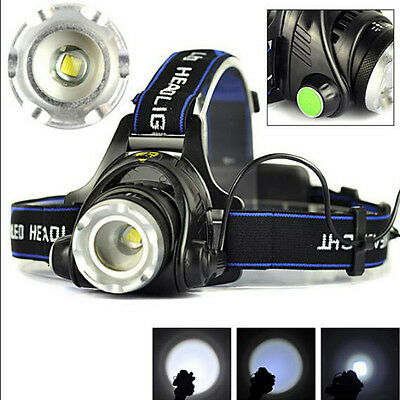 50000LM 5x XM-L T6 LED Rechargeable 18650 USB Headlamp Head Light Zoomable