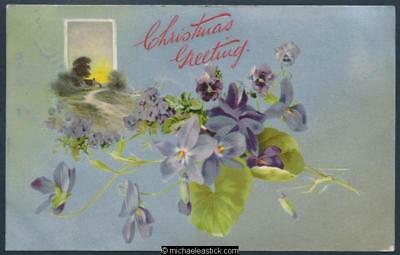 Coloured postcard - Christmas Greeting - scenery and violets.