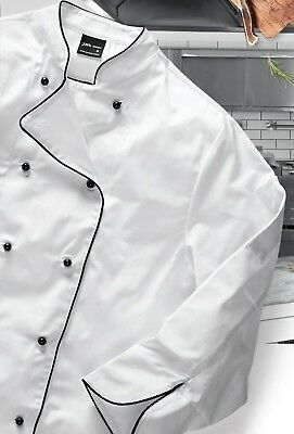 JB's Wear Drill Fabric Long Sleeve Chef's Jacket W/  Pen Pockets Mandarin collar
