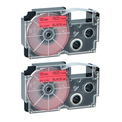 """2PK XR-12RD Black on Red Label Tape for Casio KL-60 100 7000 8200 8800 1/2"""""""