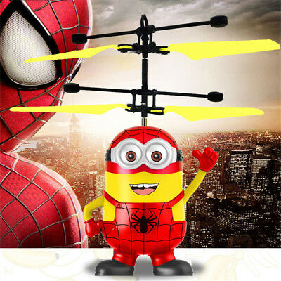 LED Light RC Mini Doll Infrared Induction Aircraft Minion Fly Ball Helicopter GR