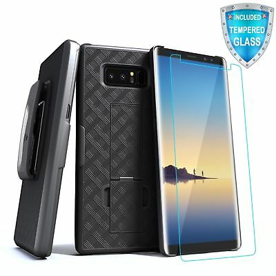 For Samsung Galaxy Note 8 Kickstand Case with Holster Belt Clip Tempered Glass