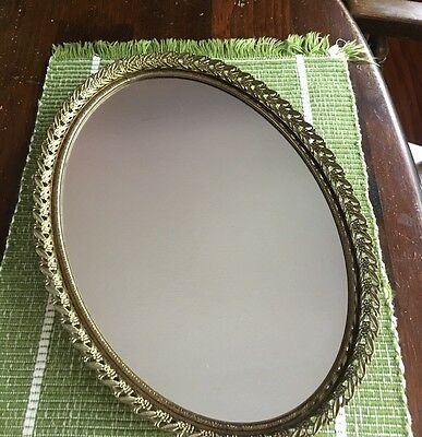 Vintage Ornate Oval GoldTone Mirrored Dresser Vanity Perfume Tray Or Wall Hung