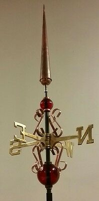 QUALITY BEAUTIFUL unique copper finial with directionals/red glass balls/mount