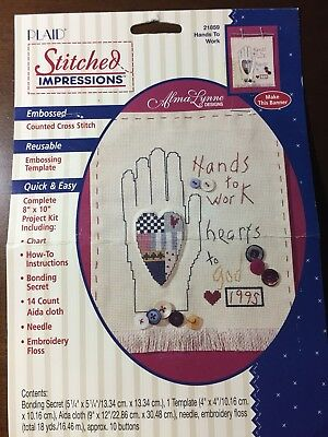 "NEW Embroidery and Cross Stitch 'Hands To Work' COUNTRY Design 8""x12"" Banner KIT"