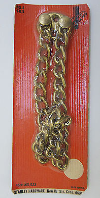 Vintage Solid Steel Chain Door Security Guard Brass Finish Stanley USA NOS