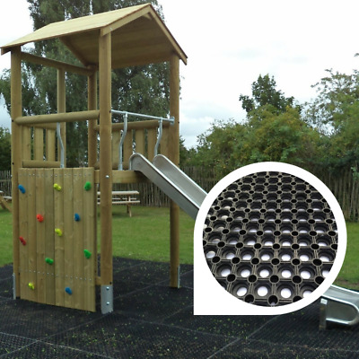 1 x Rubber Playground Swings Safety Mats Inc Fixing Pegs | 16mm Grass Matting