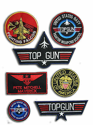 Top Gun Maverick Fancy Dress patches Iron-on 6 Patch set , Aufnäher Bügelbild