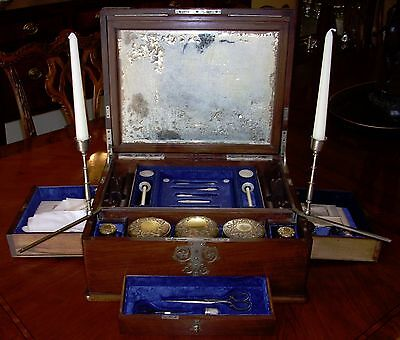 Rare English C .1840 - 50 Sewing Etui Necessaire With Swing Arm Candle Holders