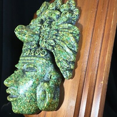 Wall Plaque, Zarebski Vintage Mexican Aztec Mayan Ancient God Crushed Malachite