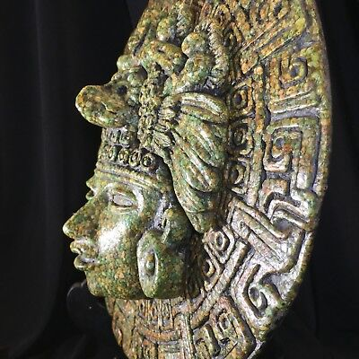 Wall Plaque, Zarebski Vintage Mexican Aztec Mayan God Crushed Malachite Rare