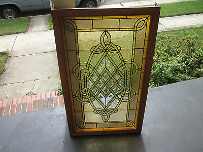 c.1910 Antique Combination Stained Glass Window, w/ bevels and 4 jewels