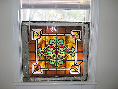 c.1920 Antique Stained Glass Window, several stable cracks, 4 jewels
