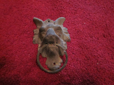 Goat Dog / Harpy Antique Victorian Bronze Finial, aged and weathered, very thin