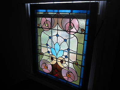 c.1910 Antique Victorian Stained Glass Window, 18 jewels, original frame