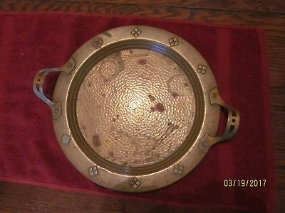 Antique Arts and Crafts Copper Hand Hammered Tray or Serving Platter