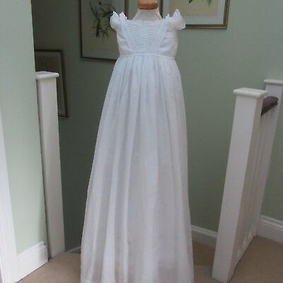 Antique/Victorian Fern Whiteworked Long Christening Gown,Lace trim.