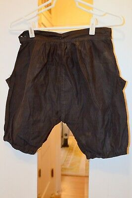 Vintage Black Shorts, Button Holes At Waist Line, Child'S Or Young Person Garmen