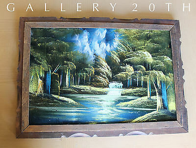 ROMANTIC!  MID CENTURY WATERFALL PAINTING 50's Modern Orig. Art Eames Vtg Forest