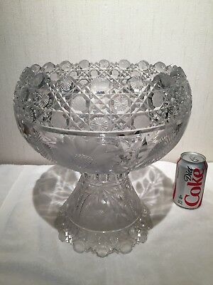Beautiful Antique American Brilliant Cut Glass Crystal Abp Punch Bowl & Base