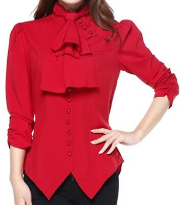 XS SM MD LG XL XXL - Red NEW Gothic Pearl Button Victorian Ruched Blouse Top