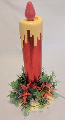 Vintage Red Beacon Foil Christmas Electric Candle with Holly Candle Ring