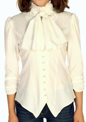 XS SM MD LG XL Off-White NEW Gothic Pearl Button Victorian Ruched Blouse Top