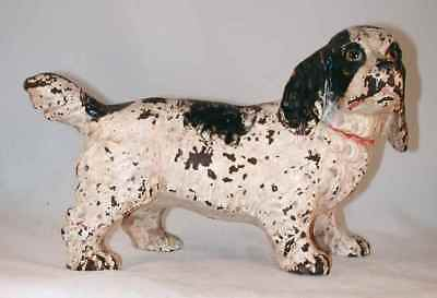 Antique Cast Iron Doorstop Black and White Painted Full Figure Cocker Spaniel