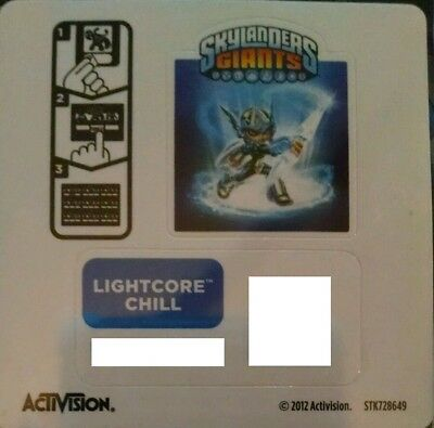 Lightcore Chill Skylanders Giants Sticker/Code Only!