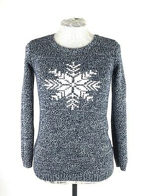 Tommy Hilfiger Sweater Women Medium 100% Cotton Snowflake Blue Pull Over