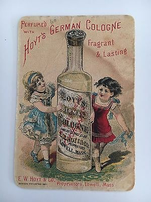 Vintage Victorian Trade Card Hoyt's German Cologne E.W. Hoyt Lowell Mass.