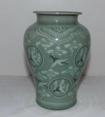"CELEDON GREEN Pottery 6 1/4"" Tall VASE with Flying Cranes from KOREA"