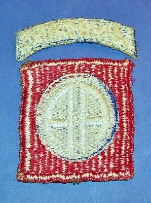 ORIGINAL CUT-EDGE WW2 82nd AIRBORNE DIVISION RIBBED WEAVE PATCH + TAB (GLOWS)