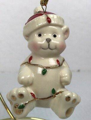 Lenox Very Merry Holiday Christmas Porcelain Bear Wrapped Lights Ornament 3.5""